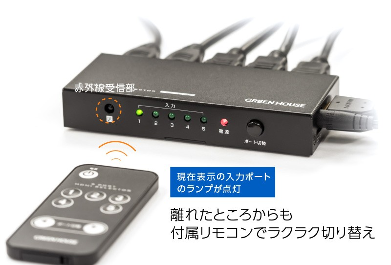 GREEN HOUSE 推出五入一出的 4K / 2K HDMI 分線器 GH-HSWH5-BK