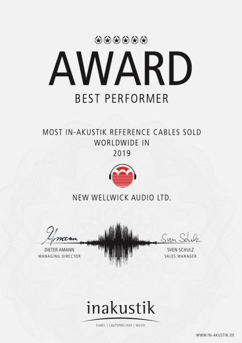新和偉榮獲 Inakustik 「2019 年亞太區最佳代理獎」 與 「2019 年全球 Referenz 系列最佳銷量獎」